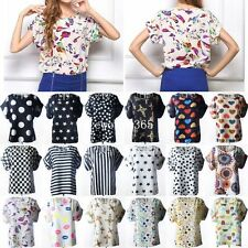 Womens Casual Loose Short Sleeve Chiffon Printed Top Tops T-shirt Shirt Blouse