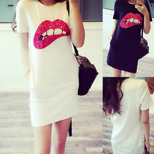 2015 Summer Women Short Sleeve Sequins Lip Casual T-Shirt Long Tops Mini Dress