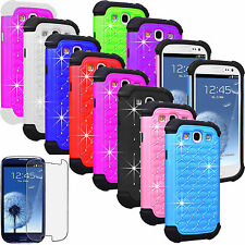 FILM +LUXURY BLING CRYSTAL RUGGED RUBBER CASE COVER FOR SAMSUNG GALAXY S3 I9300