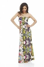 BNWT NEW LADIES AX PARIS MAXI DRESS SIZE 8 & 10 TROPICAL PRINT STRAPLESS SUMMER