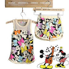Cool Baby Toddler Kid Girl Summer Minnie Print Suit Set 2Pcs Top Pants Outfits