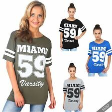 Womens Oversized American Varsity T Shirt Baggy Baseball Long Tee Top
