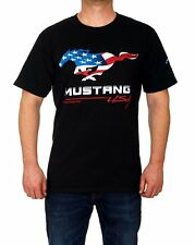 Ford Mustang T-shirt Black Shirt Colored Pony Filled USA Flag Logo NEW