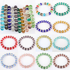 Mix-Colored Red Purple Green Crystal Glass Beads Stretchy Bracelet Bangle 1PCS