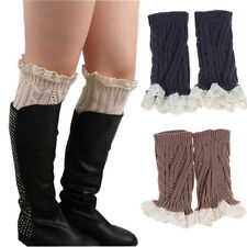 Women Crochet Knitted Lace Trim Boot Cuffs Toppers Warmer Leg Socks Applied