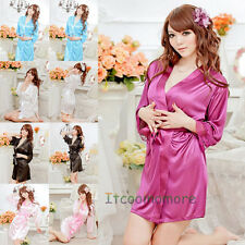 Female Sexy Satin Lace Silk Soft Underwear Lingerie Nightdress Sleepwear Robe