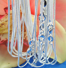 wholesale 925sterling solid Silver 1-10pcs 1mm snake chain Necklace 16-30inch