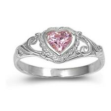 Sterling Silver Ring CZ Kids Heart Baby Pink Topaz Ladies size 1-5 New 925 b59