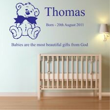 Baby nursery bedroom decal personalised walls sticker boys quote name vinyl