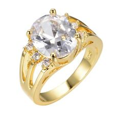 Jewelry Rings Size 6/7/8/9/10 Brand White Sapphire Lady's 10K Yellow Gold Filled