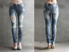 BLUE (38) DISTRESSED JEANS Ripped Skinny Denim Stretch Destroyed PLUS SIZE 13-21