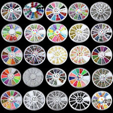 Wholesale 3D Acrylic Nail Art Tips DIY Decoration Glitter Rhinestones Wheel New