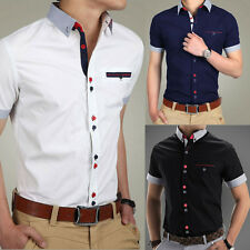 New Fashion Mens Slim Fit Short Sleeve Casual Dress Shirt T-Shirts Tee Tops