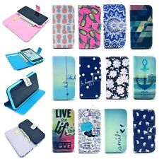 Cute Painted Magnetic PU Leather Wallet Flip Case Stand Cover For Apple iPhone