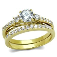 Round CZ Women's Gold IP Stainless Steel Engagement Ring Set SIZE 5,6,7,8,9,10