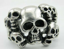 2pcs Men's PUNK gothic biker silver stainless steel skulles ghost party ring