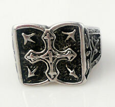 gothic biker Men black band party ring cross silver stainless steel punk