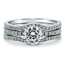 Sterling Silver Wedding set size 9 CZ Round cut Engagement Ring Bridal New w98