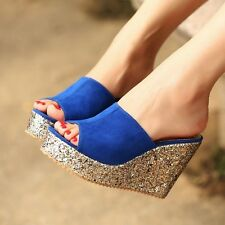 New Women's Shiny Platform Wedge Heels Faux Suede Slipper Sandals Shoes Size