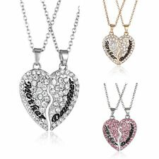 "2PCS ""Mother&Daughter""Silver Tone Love Heart Necklace Pendant Mother's Day Gifts"