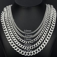 3/5/7/9/11mm Boys Mens Chain Stainless Steel Silver Tone Curb Link Necklace DIY