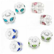 10/50x Newest Silver Plated Rhinestone Alloy Charms Beads Fit Charm Bracelets L