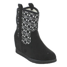 BOLARO BC5310 Women's Round Toe Mesh Snow Boots Ankle Booties With Hidden Heel