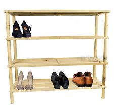 4 Tier Wooden Shoe Stand Organiser Storage Rack Shelf Unit Shelves Bookcase