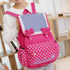 Canvas Bowknot Backpack School Bag School College Laptop Bag for Teens Students