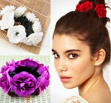 cute Garland Flower Bun Floral Head Knot Hair Top Scrunchie Band Elastic Bridal