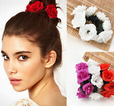 nice Garland Flower Bun Floral Head Knot Hair Top Scrunchie Band Elastic Bridal