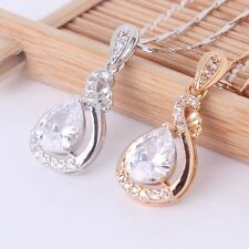 Eternity 18k gold filled white Swarovski crystal Unique lady Pendant necklace