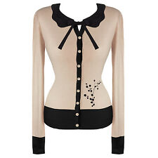Womens New Beige Floral Vintage Retro 50s Rockabilly Pinup Cardigan Knitwear Top