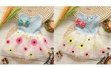 Toddler Girls O-neck Sleeveless Bow-knot Denim Top Tulle Floral Dress For 0-2 Y