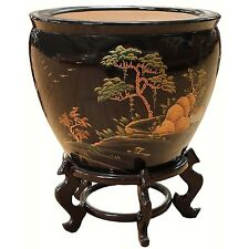 Black Artistry Chinese Oriental Fish Bowl And Stand