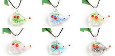 Handmade lampwork glass Hedgehog charm beaded Pendant necklace p866