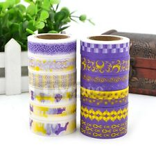 1X Purple Yellow Washi Tape Craft Ideas Scrapbooking Sticky Adhesive DIY Decor