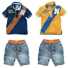 2Pcs Baby Boys Short Sleeve T-Shirt+Denim Pants Set Kids Summer Clothes Outfits