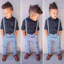 2PCS NEW Baby Handsome boy gentleman shirt + straps trousers Sets Fit 12M-6T