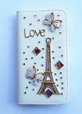 Bling Eiffel Tower leather wallet card holder flip cover case For Nokia Phones