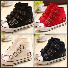 Stylish Womens Girls Canvas Round Toe Buckle Leisure Tennis Fashion Canvas Shoes