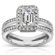 Emerald Cut Moissanite and Diamond Engagement Ring 1 1/3 Carat (ctw) in 14k Whit