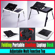 Portable Folding Laptop Tablet Notebook Stand Table Desk Double Cooling Fan