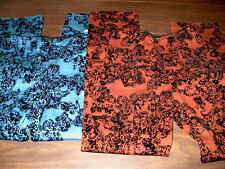 NWT Mesmerize Women's Size 4 Blue or Orange Pants Black Velvet Floral Design