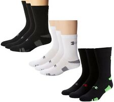 Under Armour Men's UA HeatGear Crew Socks (3 Pair)  Sock U252 Black & White
