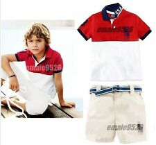 Outfits &Sets 2PCS NEW Baby Handsome boy's short sleeve T-shirt +shorts fit 2-7T