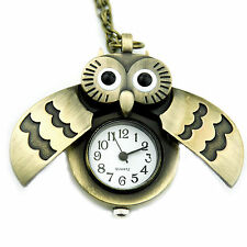 CH UK Pocket Watches Retro OWL Silver Chain Long Necklace Discount Watches Cheap