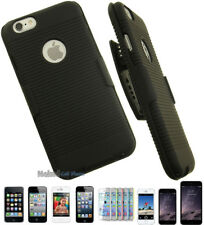 BLACK RUBBERIZED HARD CASE COVER + BELT CLIP HOLSTER w/ STAND FOR APPLE iPHONE