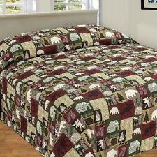CABIN PATCHWORK QUILTED BEDSPREAD BEAR MOOSE TREE QUEEN KING CAMPING MAN CAVE