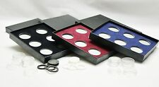 Black Coin Display Box for 6 coins; Penny, Dime, Nickel, Quarter, SBA (w. Rings)